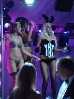 One of the twins in Bunny ears dancing on stage