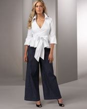 Tennille White Wrap Top & High-Waist Denim Pant