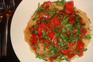 2 - Prime Italian's spaghetti, basil and tomato sauce dish