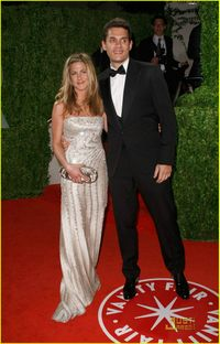 Oscars - jennifer aniston in valentino and john mayer