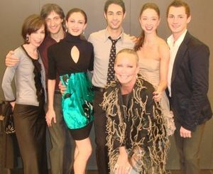 Blog 4 - Helen Melchior and me with Joffrey dancers Temur Suluashvili, Victoria Jaiani, Mauro Villanueva, April Daley and David Gombert