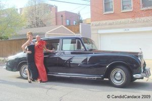 Blog limo - Christine Ott and me with vintage Rolls limo