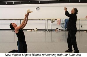 Blog 3 - New dancer Miguel Blanco rehearsing with Lar Lubovitch
