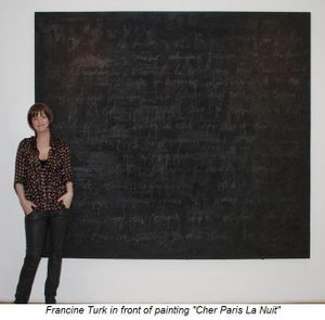 Blog 1 - Francine Turk in front of painting Cher Paris La Nuit