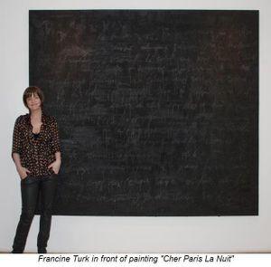 Blog 1 - Francine Turk in front of painting Cher Paris La Nuit