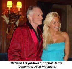 Blog 2 - Hef with his girlfriend, Crystal Harris Dec 2009 Playmate
