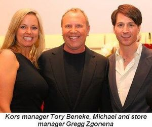 Kors manager Tory Beneke, Michael and store manager Gregg Zgonena