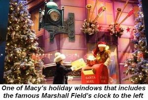 Blog 7 - One of Macy's holiday windows that includes the famous Marshall Field's clock to the left