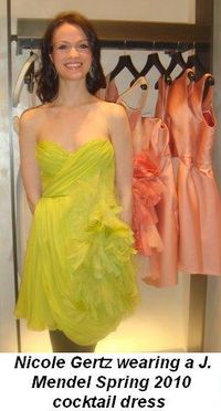 Blog 2 - Nicole Getz wearing a gorgeous cocktail dress from Mendel's Spring 2010