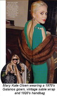 Blog 2 - Mary-Kate Olsen wearing a 1970's green Galanos gown, vintage sable wrap and a 1920's handbag