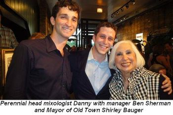 Blog 1 - Perennial head Mixologist Danny with Manager Ben Sherman and the Mayor of Old Town Shirley Baugher