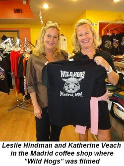 Blog 5 - Leslie Hindman and Katherine Veach in Madrid coffee shop where movie Wild Hogs was filmed with John Travolta