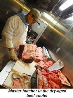 Blog 4 - Master butcher in the dry aged beef cooler