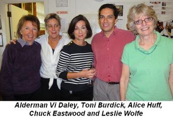 Blog 3 - Alderman Vi Daley, Alice Huff, Chuck Eastwood and Leslie Wolfe with a friend