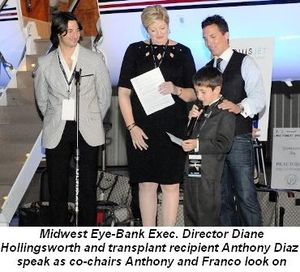 Blog 1 - Midwest Eye-Bank Exec. Director Diane Hollingsworth and transplant recipient Anthony Diaz speak as co-chairs Anthony and Franco look on