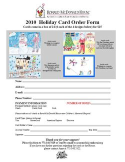 Ronald McDonald House Christmas Card Order Form