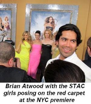 Blog 2 - Brian Atwood with the SATC girls posing on the red carpet at NY premiere