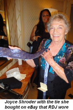 Blog 19 - Joyce Shroder holding tie she bought on Ebay that RDJ had worn