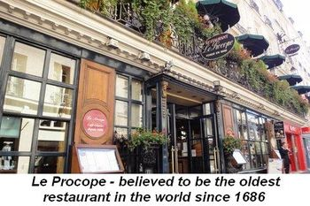 Blog 26a - Le Procope--believed to be the oldest restaurant in the world since 1686