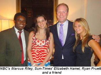 Blog 7 - NBC Chicago's Marcus Riley, Sun-Time's Elizabeth Hamel, Ryan Pruett and a friend