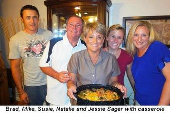 Blog 6 - Brad, Mike, Susie, Natalie and Jessie Sager with casserole