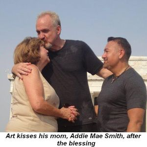 Blog 1 - Art kisses his mom, Addie Mae Smith, after the blessing