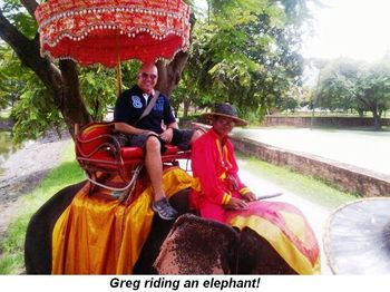 Blog 2 - Greg riding elephant