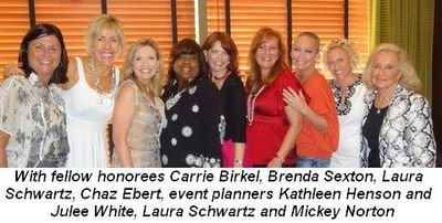 Blog 2 - With fellow honorees Carrie Birkel, Brenda Sexton, Laura Schwartz, Chaz Ebert (event planners Kathleen Henson and Julee White, Laura Schwartz and Mickey Norton