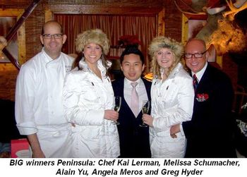 Blog 1 - BIG winners Peninsula—Chef Kai Lerman, Melissa Schumacher, Alain Yu, Angela Meros and Greg Hyder
