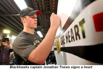 Blog 1 - Blackhawk's Captain Jonathan Toews signs a heart
