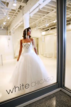 White Chicago - bride in storefront