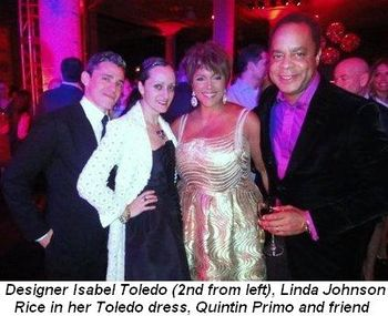 Blog 10 - Designer Isabel Toledo (2nd from L), Linda in her Toledo dress, Quintin Primo and friend