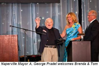 Blog 4 - Naperville Mayor A. George Pradel welcomes Brenda and Tom Harter, Sr.