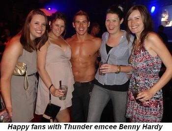 Blog 1 - Happy fans with Thunder emcee Benny Hardy