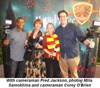 Blog 4 - With cameraman Fred Jackson, photog Mila Samokhina, and cameraman Corey O'Brien
