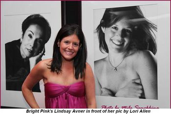 Blog 3 - Bright Pink's Lindsay Avner in front of her pic by Lori Allen