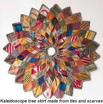 Blog 3 - Kaleidoscope tree skirt made from ties and scarves