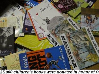 Blog 46 - 25,000 children's books were donated in honor of O