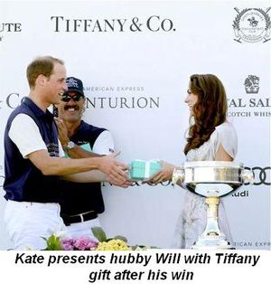 Blog 2 - Kate presents hubby Will with Tiffany gift after win