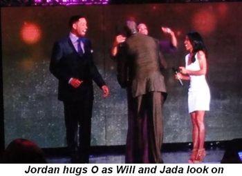 Blog 18 - Jordan hugs O as Will and Jada look on