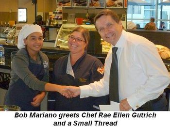 Blog 1 - Bob Mariano greets Chef Rae Ellen Gutrich and Small Thread