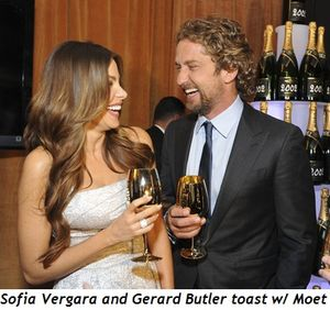 Blog 1 - Sofia Vergara and Gerard Butler toast with Moet