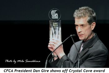 Blog 5 - CFCA's President Dan Gire shows off Crystal Cove award