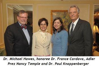 Blog 1 - Dr. Michael Hawes, honoree Dr. France Cardova, Adler President Nancy Temple and Dr. Paul Knappenberger