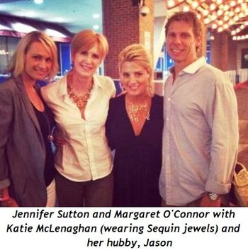 Jennifer Sutton, Margaret O'Connor, Katie McLenaghan (wearing Sequin jewels) and Hubby Jason
