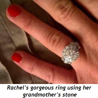 Blog 2 - Rachel's gorgeous ring using her grandmother's stone