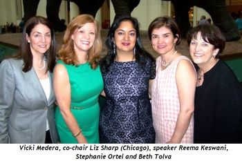 Blog 1 - Vicki Medera, Co-Chair Liz Sharp (Chicago), Speaker Reema Keswani, Stephanie Ortel, Beth Tolva