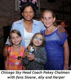Blog 4 - Chicago Sky Head Coach Pokey Chatman with fans Sloane, Ally, Harper