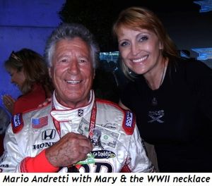 Blog 3 - Mario Andretti with Mary and WWII necklace