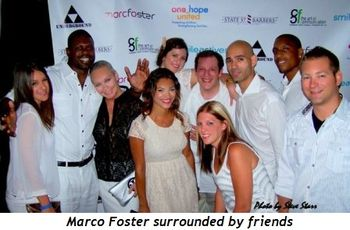 Blog 1 - Host Marco Foster surrounded by friends